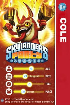 Skylanders Party invitation