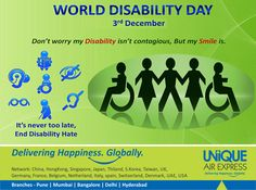 Don't worry Disability isn't contagious, but SMILE is. It's never late, End Disability hate. It's World Disability Day !! #WorldDisabilityDay