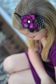 Rich purple flower with polka dot feather accent on a thin black headband Feather Headband, Black Headband, Diy Flowers, Purple Flowers, Rick Rack Flowers, Babys, Polka Dot, Couture, Trending Outfits