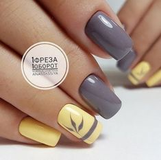 Bright fashion nails Fashion autumn nails Grey and yellow nails Nails for September 1 Original nails September nails Two color nails Vivid nails Nail Art Design Gallery, Best Nail Art Designs, Toe Nail Designs, Pedicure Designs, Two Color Nails, Nail Colors, Shellac Colors, Colours, Autumn Nails