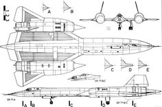 Orthographically projected diagram of the SR-71A Blackbird