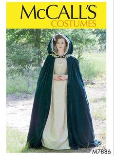 McCall's Misses' Costume Pattern 7886 from patterns and plains range of patterns for Women. Lined cape is gathered to neck band with hook and eye closure and has side arm openings and train. Hood is lined and has contrast ruffle. Costume Dress, Cosplay Costumes, Faun Costume, Santa Costumes, Dark Costumes, Hooded Cloak Pattern, Medieval Cloak, Medieval Fantasy, Mccalls Sewing Patterns