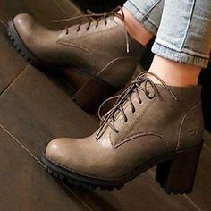 Vera Tone - Block Heel Lace-Up Short Boots