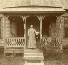 A young Laura Ingalls Wilder outside her family's home in Mansfield, Missouri in the late 1890s. Soon after, Laura and her husband Almanzo would move out to the Rocky Ridge Farm where she would ultimately write her famed Little House books!