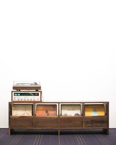 For the ambitious recordcollector and avid listener, this cabinet has  sturdydrawers with soft-closure for easy access. The interior of the  drawers is fully adjustable to ensure records are always standing upright  and so you can continue collecting.  Images reflect the 4 drawer model in Walnut, and the 12 drawer model in  White Oak. Each drawer holds approximately 70records.Price above  reflects the base price for the 4 drawer model.  Each Killscrow Vinyl Cabinet is handmade custom…