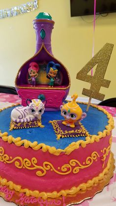 Cake made by Publix. All toppers purchased from Amazon. Shimmer and shine birthday cake