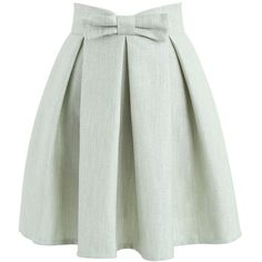 Chicwish Sweet Your Heart Bowknot Pleated Skirt in Texture Pea Green ($40) ❤ liked on Polyvore featuring skirts, green, textured skirt, pleated skirt, green skirt, green pleated skirt and chicwish skirts