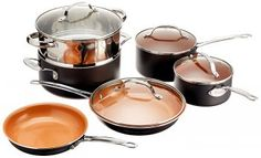 Gotham Steel 1129 Pots and Pans 10 Piece Cookware Set with Nonstick Ceramic Coating by Chef Daniel Green – Graphite, Fry, Stock Steamer Insert Copper Frying Pan, Copper Pans, Frying Pans, Cast Iron Cookware, Cookware Set, Home Design, Kitchenware Set, Gotham Steel, Pots And Pans Sets