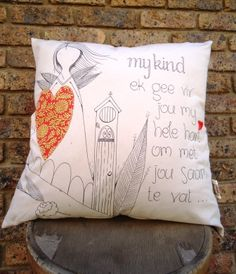 My Kind Cushion Ideas, Afrikaans, Texture Painting, Arts And Crafts, Doodles, Cushions, Throw Pillows, Sayings, Shop