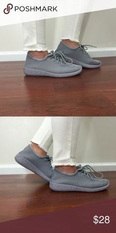 Gray knit tennis shoes -Stylish and comfy lightweight tennis shoes  -fits true to size   -sole 1 inch Shoes Athletic Shoes