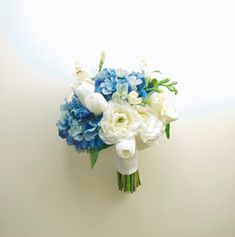 Real Touch Blue Hydrangea Wedding Bouquet with White Tulips and White Ranunculus by Lilywinkel, $120.00