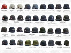 Pictured above is a whole array of German helmets ranging from to with. German Soldiers Ww2, German Army, German Helmet, German Uniforms, Military Uniforms, Military Insignia, Military Equipment, Luftwaffe, Military Weapons