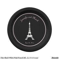 Chic Black White Pink French Eiffel Tower Wedding Paper Plate  sc 1 st  Pinterest & Parisian Black and White Wedding Eiffel Tower Paper Plate ...
