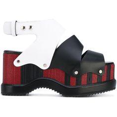 Proenza Schouler colour block platform sandals (4,105 SAR) ❤ liked on Polyvore featuring shoes, sandals, black, black sandals, leather shoes, platform sandals, black shoes and black ankle strap sandals