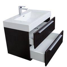 31.5 Inch Wall-Mount Contemporary Bathroom Vanity Mirror Set Espresso TN-M800-WG - Conceptbaths.com
