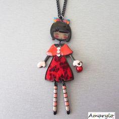 Collier sautoir poupée Pépette Linette - Rouge cerise - Les Pépettes de LOL BIJOUX
