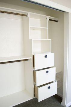 diy closet kit for under 50, closet, organizing, shelving ideas, storage ideas, 3 large deep drawers