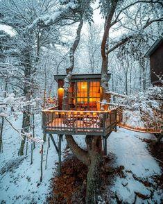Beautiful Tree Houses, Cool Tree Houses, Tiny Houses, Tree House Designs, Tiny House Design, Loft Design, Design Art, Ideas Cabaña, Future House
