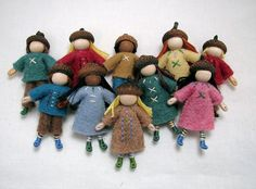 WHOLESALE -- 10 Acorn cap bendy dolls -- little waldorf inspired dolls