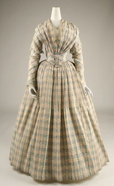 Afternoon dress, ca. 1843, American, cotton