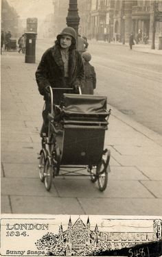 Pushing the pram in London in 1934 by lovedaylemon, via Flickr
