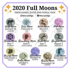 2020 Full Moons, their date, name and zodiac sign – Astrologie Wiccan Witch, Wicca Witchcraft, Magick Spells, Moon Spells, Green Witchcraft, Real Spells, Hoodoo Spells, New Moon Rituals, Full Moon Ritual
