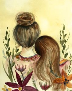 "Mother and daughter ""our garden"" art print, gift idea mother's day by claudiatremblay on Etsy"