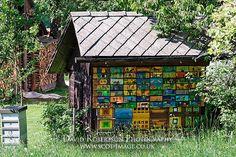 Image-Large-beehive-with-newly-painted-panels-Gorenjska,-Slovenia