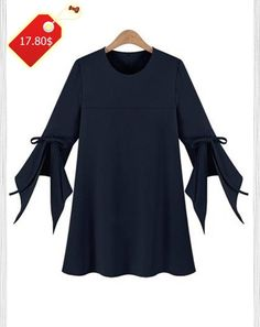 Fashionable Women's Plus Size Bell Sleeve Pure Color Dress