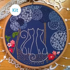 kit de broderie traditionnelle - Cats by Fileusedetoiles on Etsy