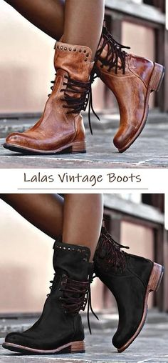 7eedd09858 FREE SHIPPING Order Over   80! SHOP NOW   Back Zipper Vintage Boots Lace-Up  Holiday Mid-calf Boots - Lalasgal