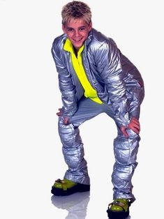 Aaron Carter wearing something made out of duct tape. The greatest pictures to describe the 90's.