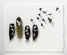 """""""Owl for One and One for Owl"""" shadow box showing cut feather artwork by Chris Maynard"""
