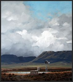 """The Gathering Storm"" - - Karoo Landscape Landscape Drawings, Cool Landscapes, Watercolor Landscape, Landscape Paintings, Pictures To Paint, Art Pictures, Cloud Art, South African Artists, Country Art"