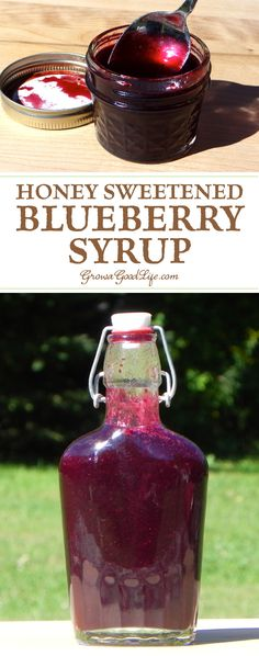 Ice cream topping: This homemade blueberry syrup with honey allows the true sweet fruit flavor to stand out. Enjoy in tea, on pancakes, in yogurt, and as an ice cream topping. Blueberry Syrup, Blueberry Recipes, Blueberry Pancakes, Blueberry Juice, Strawberry Syrup, Homemade Syrup, Homemade Sauce, Homemade Seasonings, Ice Cream Toppings