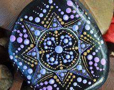 mandala rock mandalastone painted stone painted by KarinGetazArt