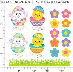 Easter Eggs  Clip art and Digital paper set