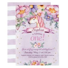Unicorn Birthday Invitation Magical Floral Invite