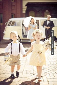 Nice! - ring bearer with bow tie and flower girl in yellow dress | CHECK OUT MORE GREAT WHITE WEDDING IDEAS AT WEDDINGPINS.NET | #weddings #whitewedding #white #thecolorwhite #events #forweddings #ilovewhite #bright #pure #love #romance