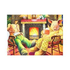 Pigs in the Pub Wrapped Canvas Canvas Print