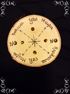 My handmade pendulum board. Made from birch. It's not fancy but it's my own creation. I like most of my tools to be hand made of natural materials. Just feels right to me. Diy Tarot Cards, Witch Symbols, Witchcraft Spells For Beginners, Pendulum Board, Pagan Decor, Magic Crafts, Which Witch, Grimoire Book, Wiccan Crafts