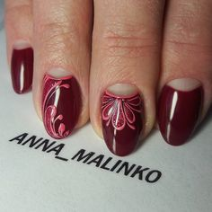 Анна Малинко 3d Nails, Love Nails, Glitter Nails, French Nail Designs, Cute Nail Designs, French Nails, Round Nails, Super Nails, Fabulous Nails