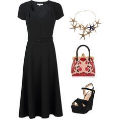 Love the dress and purse...