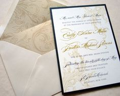 Black, Ivory, Champagne and Gold  Wedding Invitation Sets by Whimsy B. Designs Invitations on Etsy, $6.00