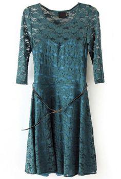 Vestido encaje con cinturón-Verde oscuro EUR€22.78