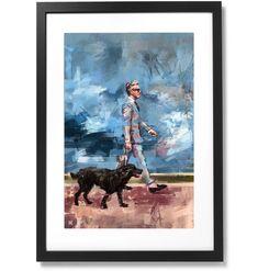 "Framed Sartorial Painting No.73 Mr.David Print, 16"" X 24"" The Republic, Black Wood, Solid Black, Outline, South Korea, Frame, David, Museum, Painting"
