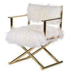 Mongolian Fur Director's Chair Gold