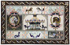 De La Promenade En Noir - Complete Set Carousel - The Gentleman Pirate Janome, Applique Quilts, Pattern Blocks, Carousel, Crochet Stitches, Vintage World Maps, Gallery Wall, Creative, Artist