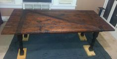 """We made this """"antique"""" barn door table Barn Door Tables, Kitchens, Dining Table, Home And Garden, Woodworking, Doors, Rustic, Antiques, Eat"""
