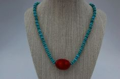Turquoise Beads with Large Red coral Bead by kellidesignsonline, $30.00